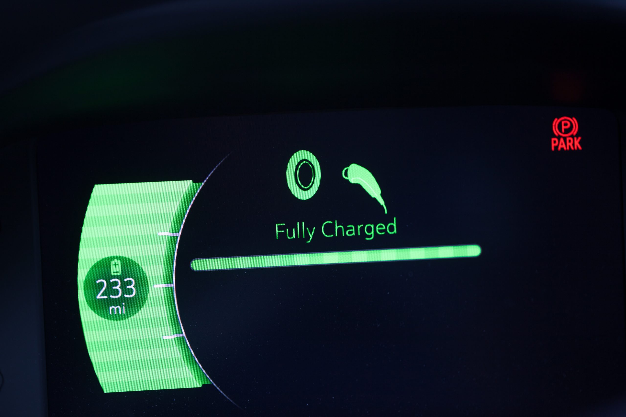 Battery Range , Fully Charged Electric Car.