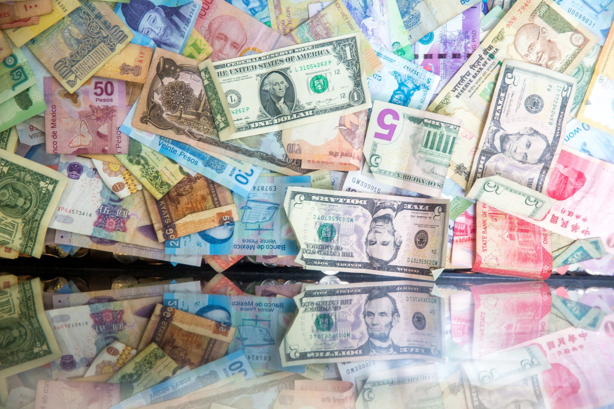Banknotes of the world.