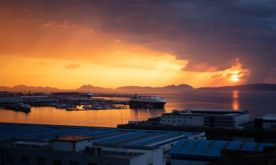 View of a sunset over the leisure port of Vigo, Spain.